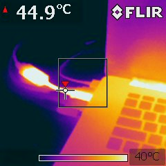 Thermographic photo of laptop