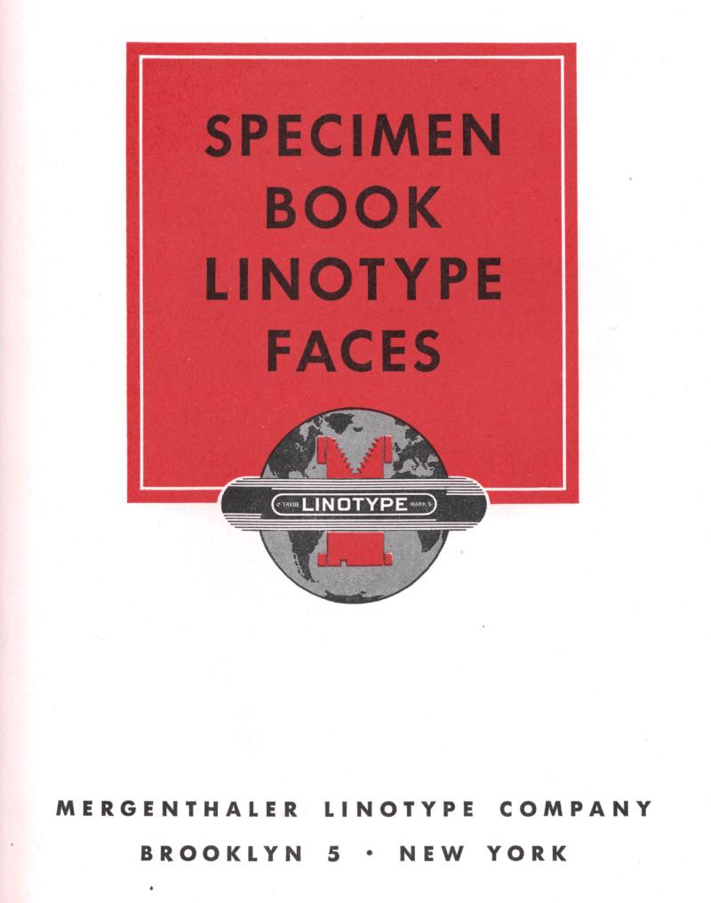 Linotype specimen book title page